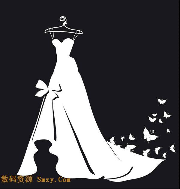 白色婚纱剪影和蝴蝶装饰背景矢量素材
