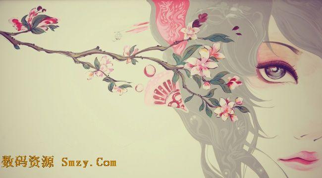 中国风古风手绘花朵美女高清图片