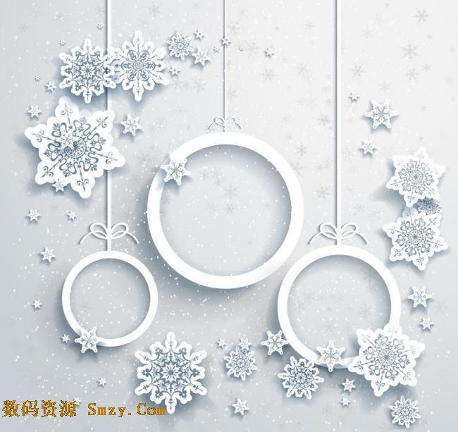 一朵朵雪花图案搭配在圆形的边框周围