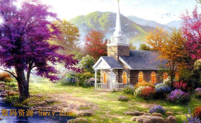 田园唯美风景油画高清图片