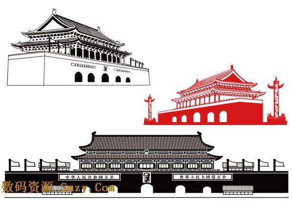 线条简约画法天安门建筑图形矢量素材