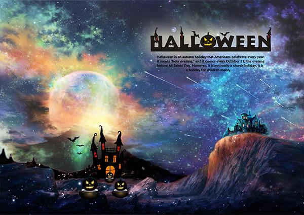 万圣节城堡梦幻星空背景海报psd素材