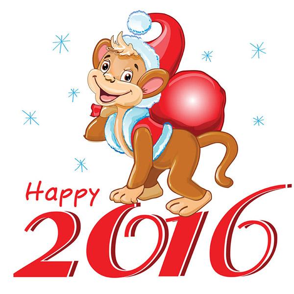 2016年生肖卡通小猴艺术字背景矢量素材就是可爱的卡通小猴和2016