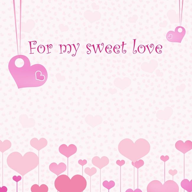 粉色甜蜜爱情心形背景高清图片