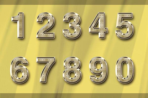 黄金数字金属艺术字体设计psd素材下载