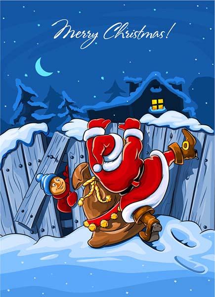 翻墙的圣诞老人圣诞节夜晚背景矢量素材