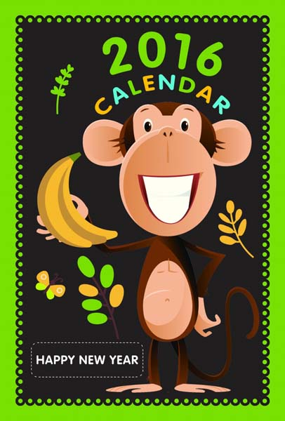 可爱的小猴子和艺术字2016是主要元素展示