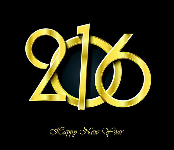金色2016新年数字艺术字设计矢量素材展示的就是