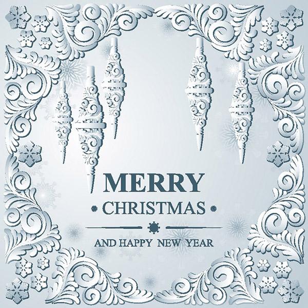 古典欧式花纹加上英文圣诞快乐