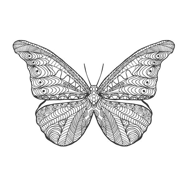 蝴蝶翅膀线条纹身图案设计矢量素材