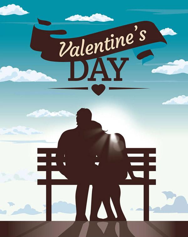 用丝带搭配艺术字,还有蓝天白云背景中相互依偎的情侣背影,阳光的温暖图片