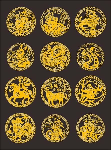 圆形十二生肖剪纸设计矢量素材