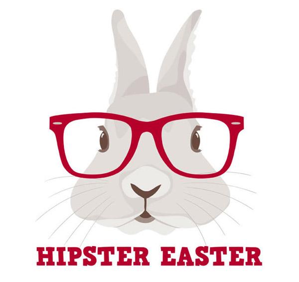 卡通戴眼镜框的可爱兔子背景矢量素材