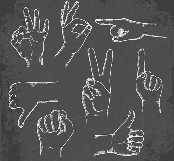 手绘黑板粉笔手势设计矢量素材