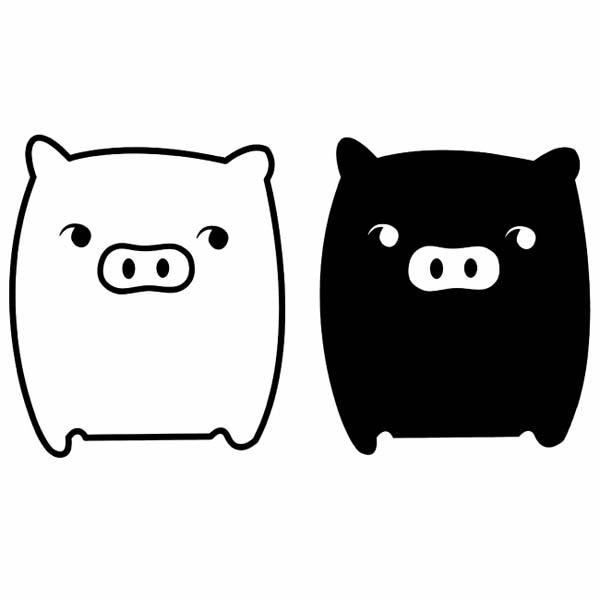 卡通小动物形象之黑白猪高清图片