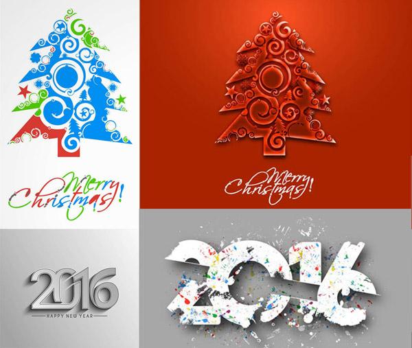 2016数字圣诞树设计背景矢量素材