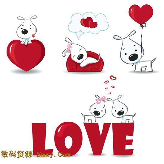 卡通love爱情心形小狗背景矢量素材