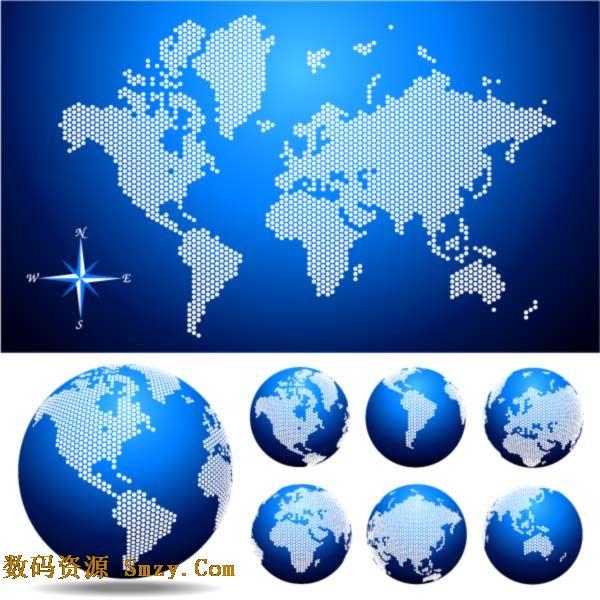创意设计世界地图地球背景矢量素材就是蓝色背景下的展开型世界地图