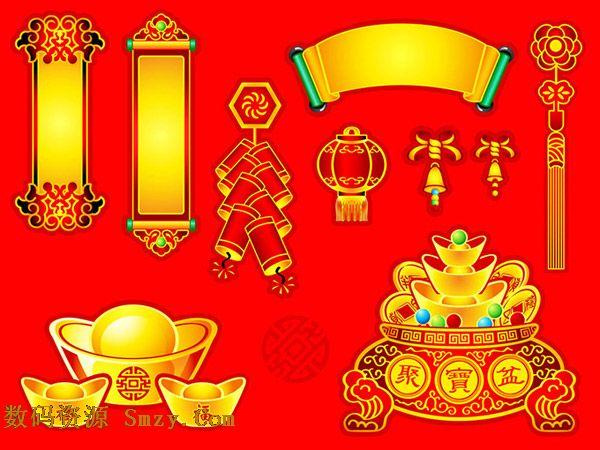 中国传统春节元素条幅背景矢量素材
