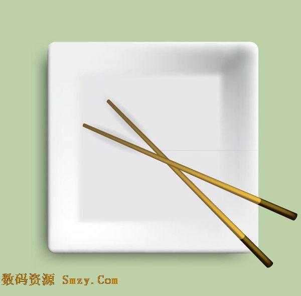 方形白色餐盘筷子背景矢量素材