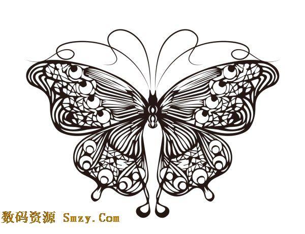 线条手绘精美蝴蝶图案矢量素材展示的就是传统简单的黑线条绘制的