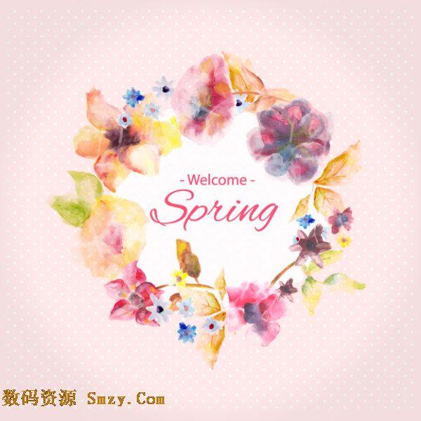 水彩手绘花边边框春天主题背景矢量素材