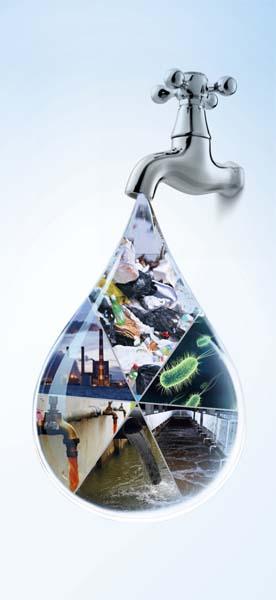 创意水龙头水滴世界高清图片