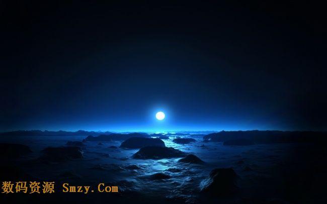 海边夜晚唯美月光背景高清图片