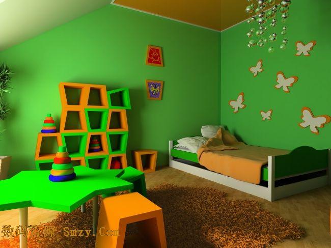 绿色儿童房间装修设计高清图片