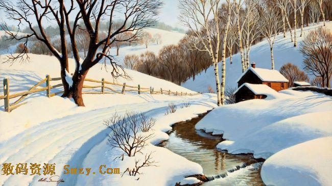 冰雪融化山间小屋树林风景高清图片展示了林间小屋的背景,干枯的树木
