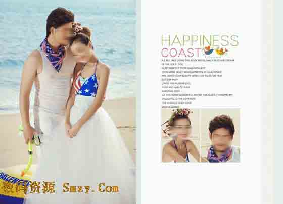 是本张婚纱照相册模板展现的重点,照片中的一对年轻男女站在海边的