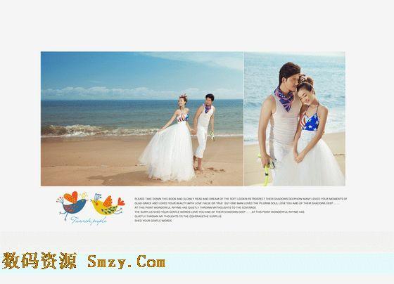 婚纱照相册模板 幸福沙滩