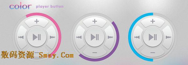 圆形彩色mp3播放器按钮PSD素材