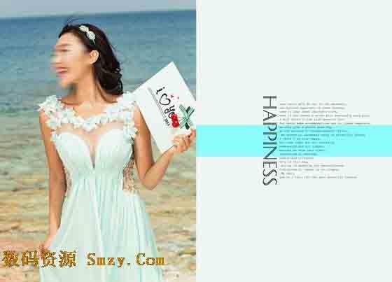 采用白色调作为本张婚纱照相册模板的主色调,照片中的女孩站在海边的