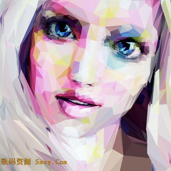 美女头像多边形插画设计矢量素材下载- EPS格式- 数码资源网