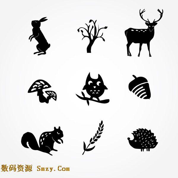 动植物简约黑色图标矢量素材