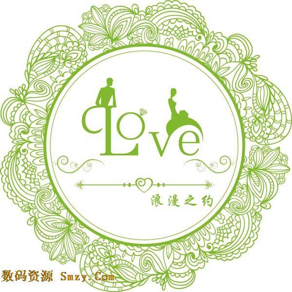 浪漫爱情婚礼圆形花纹边框矢量素材下载