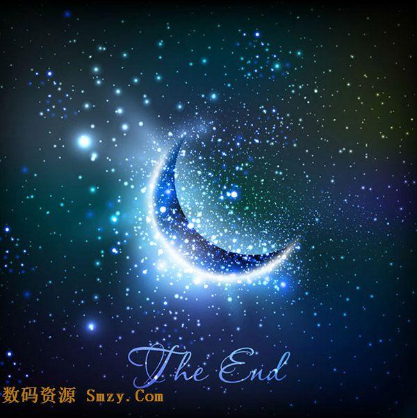 梦幻星空新月璀璨背景矢量素材