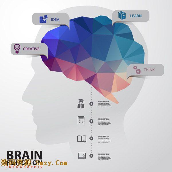 大脑是高级神经系统的主要部分,是我们智慧的发源地,每一部分都掌控着不一样的能力,这张创意几何图形大脑信息图矢量素材就用图示的方式来展示大脑的控制元素,想法,创意,学习都在脑海中有固定位置,详细还请见JPG缩略图,喜欢的朋友可以点击下载收藏!