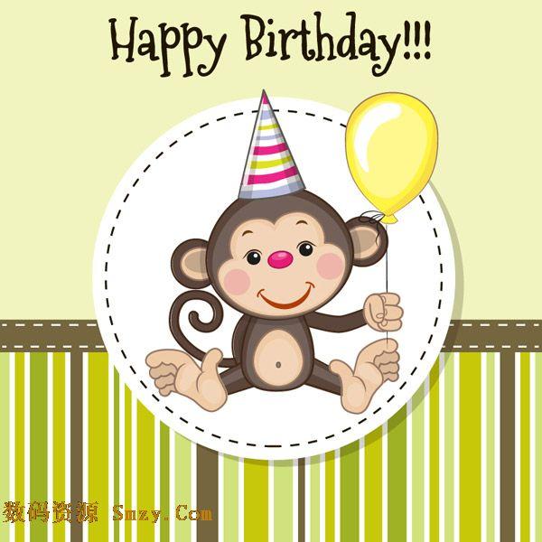 卡通猴子生肖图案生日贺卡矢量素材采用可爱的动物作为背景设计,条纹