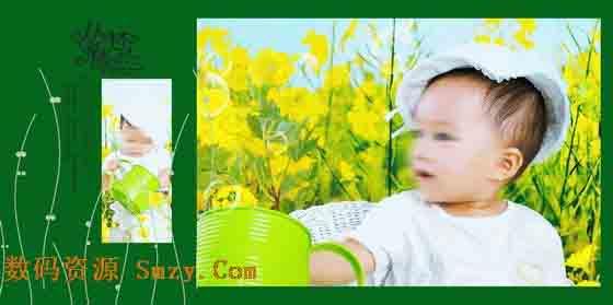 本张儿童艺术照模板共使用儿童照片两张,以绿色调作为本张儿童艺术照模板背景的主色调,右边的那张横版儿童照片,是本张儿童艺术照 模板展现 的重点,照片中的小宝宝站在花丛中,表情比较的萌萌哒,将小宝贝甜美、可爱的一面展现给大家,左边使用了一张竖版儿童照片,同时加以 艺术线条、精美的艺术文字等元素所综合设计而成,类属于儿童艺术照模板 丛林小精灵系列中的第九张模板,详细效果请见下面的JPG缩略图。