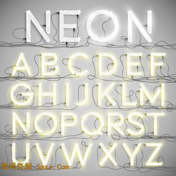 白色霓虹灯发光字母艺术字设计矢量素材