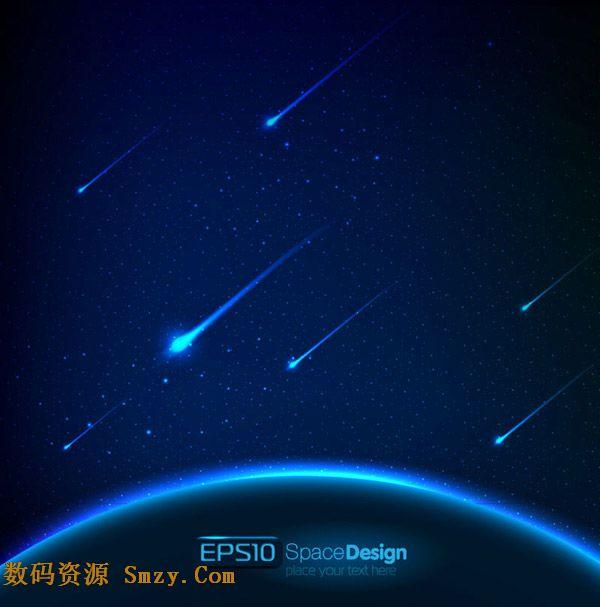 梦幻太空黑夜中的流星背景矢量素材