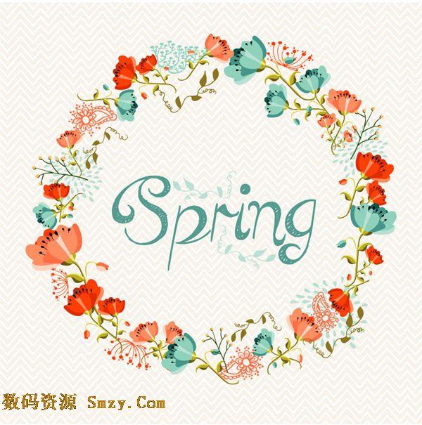 春季鲜花花环边框设计矢量素材