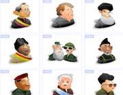 多国领导人物肖像卡通图标素材