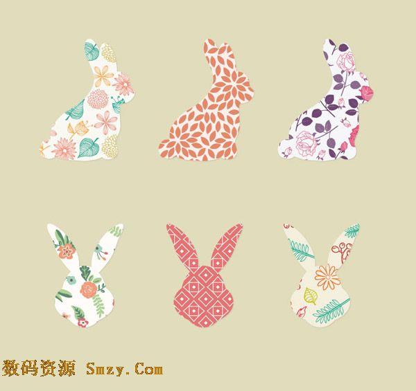 花纹兔子侧影头像图案背景矢量素材