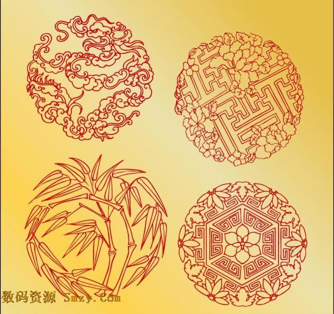 端午节传统祥云竹子花纹底纹矢量素材