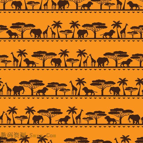 非洲动物大象长颈鹿无缝背景矢量素材