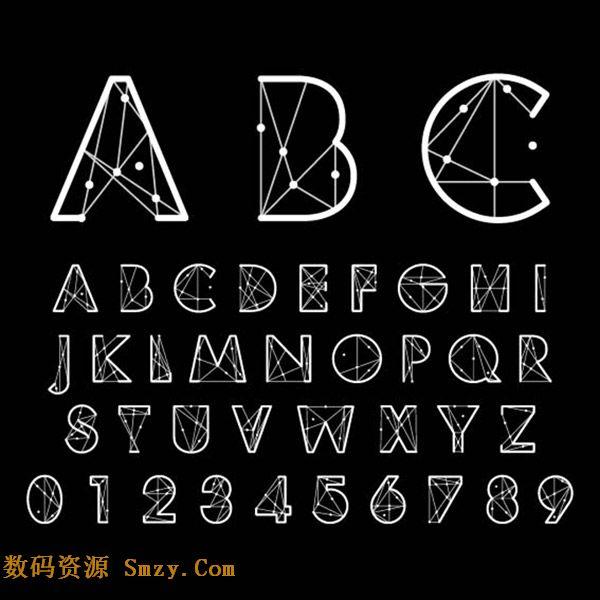 创意线性英文字母艺术字设计矢量素材