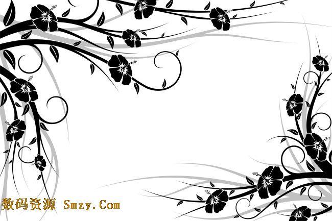 粗藤蔓手绘黑白